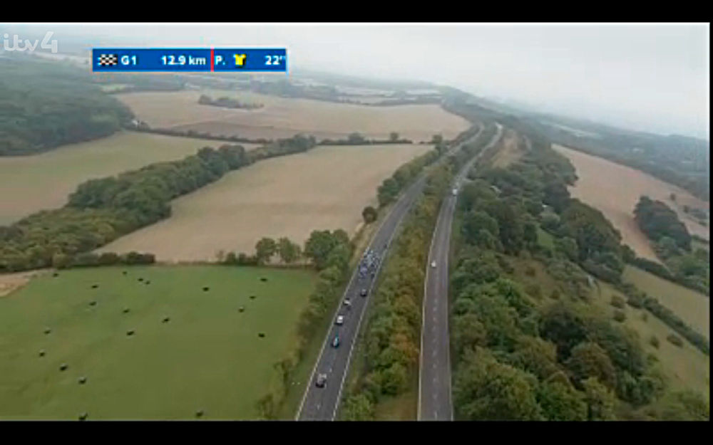 Tour of Britain as it passes along the Hogs Back towards Guildford.